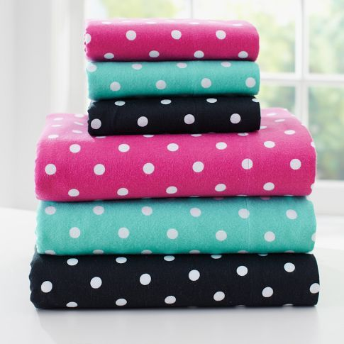Dottie Flannel Sheet Set Girls Sheet Sets Polka Dot