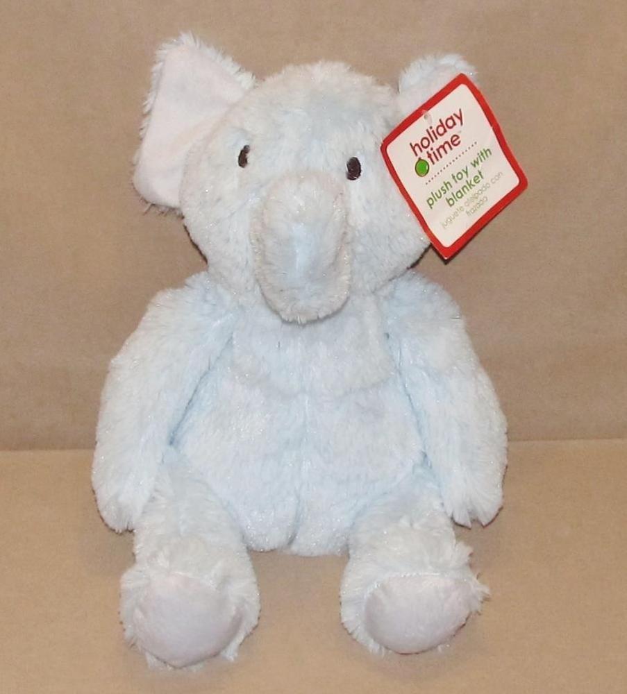 Holiday Time Walmart Blue Elephant Plush Stuffed Toy Brown Stitched Eyes Nwt 12 Elephant Plush Plush Stuffed Animals Plush Animals