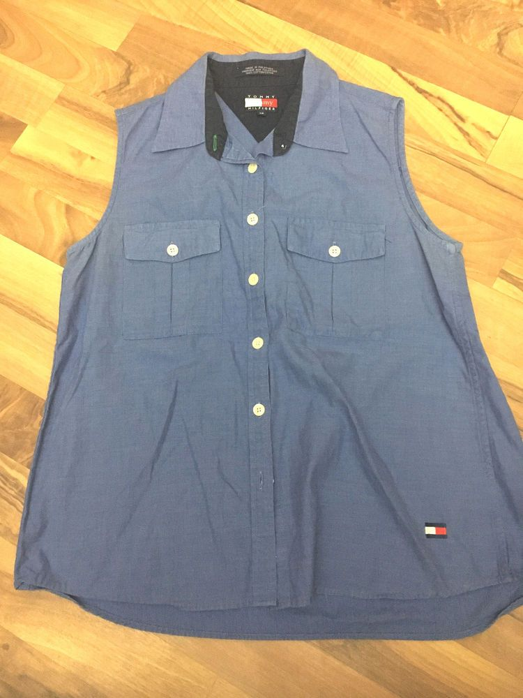 Womens Size 12 Vintage Tommy Hilfiger Medium Blue Button Up Vest Top - Big Logo #TommyHilfiger #Vest #Casual