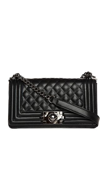DAILYLOOK Quilted Vegan Leather Purse in Black | DAILYLOOK