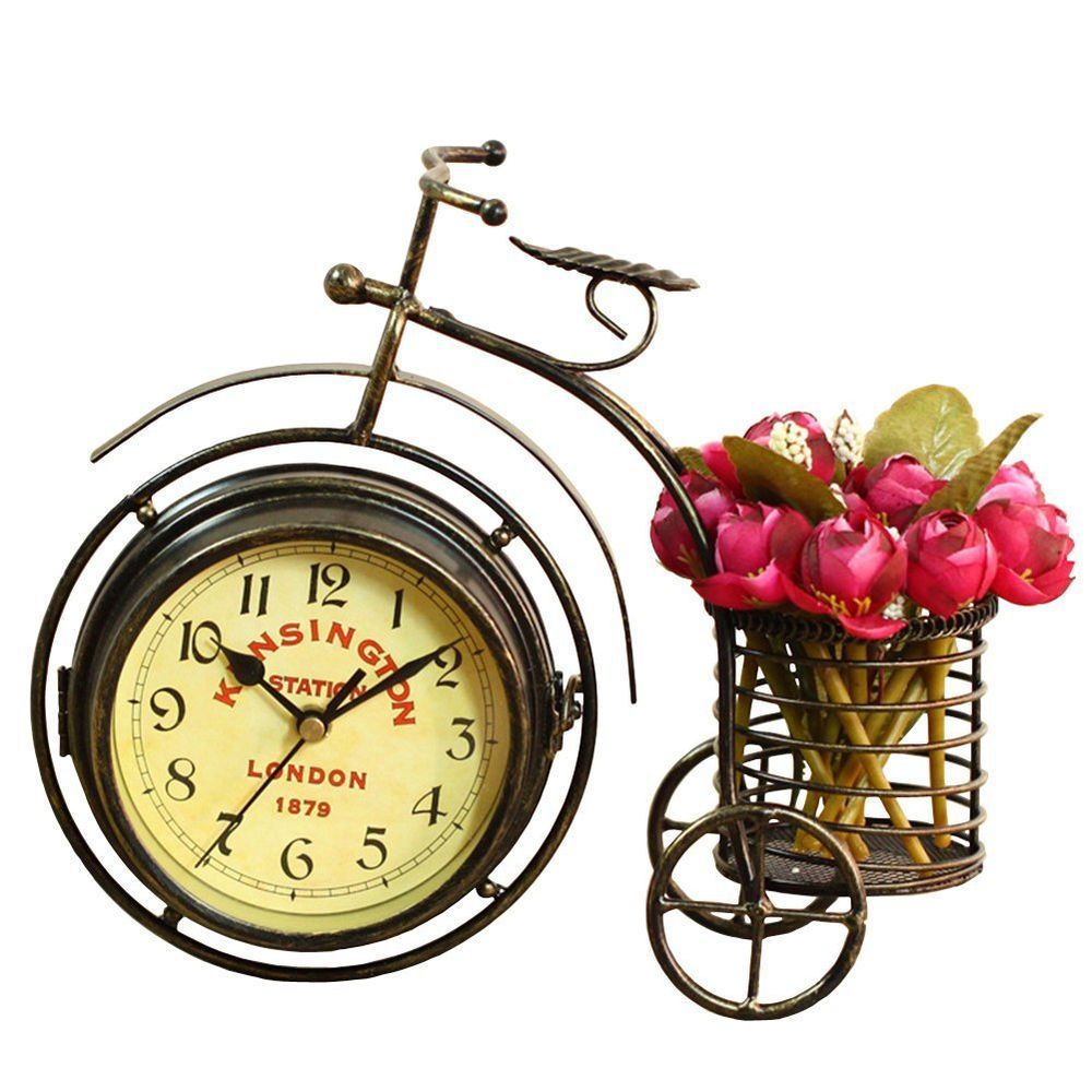Handmade Vintage Table Clock Two Sided Bicycle Shabby Metal Rustic Antique  Gift