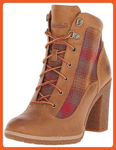 Timberland Women's Glancy Fabric/Leather Hiker Winter Boot, Wheat Woodlands/Red  Pendleton Wool