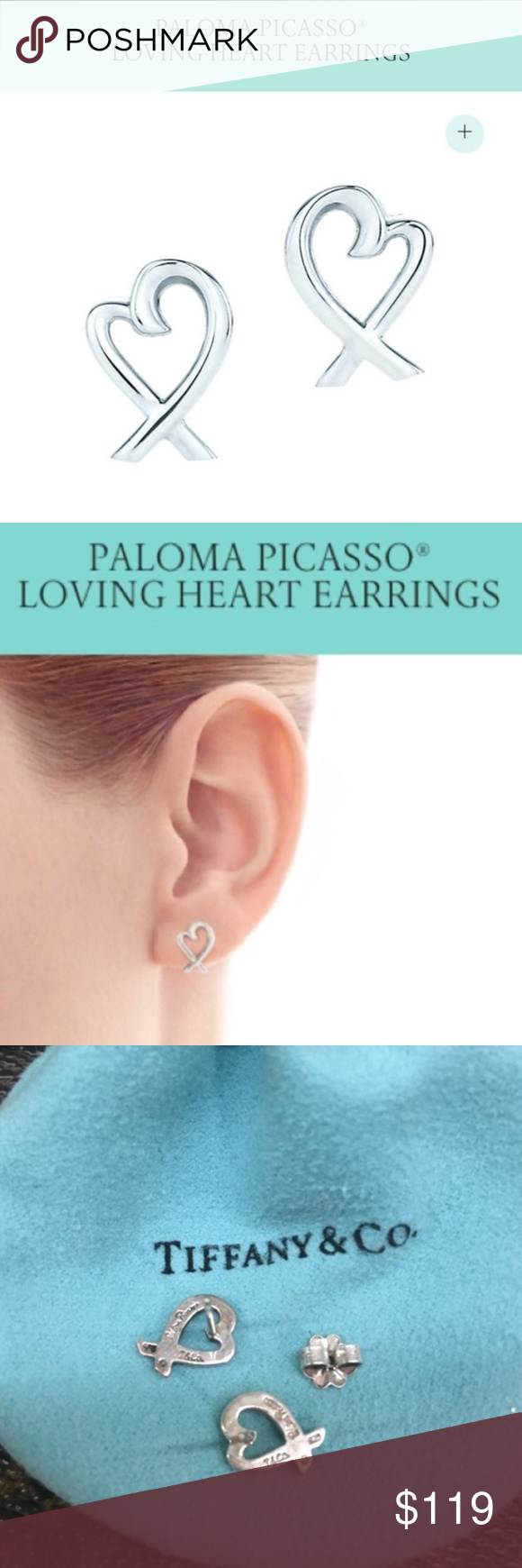 Tiffany Co Paloma Pico Loving Heart Earrings In Sterling Silver 100 Authentic