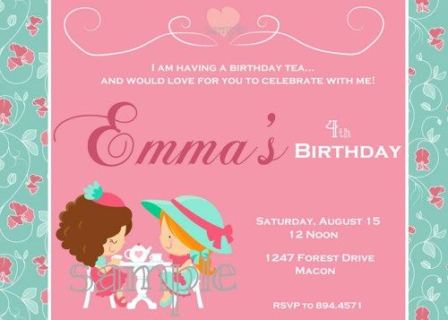 little girl tea party printable digital birthday party invitation - Girl Birthday Party Invitations