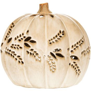 Cream Pumpkin Tea Light Candle Holder with Wheat Cut-Outs