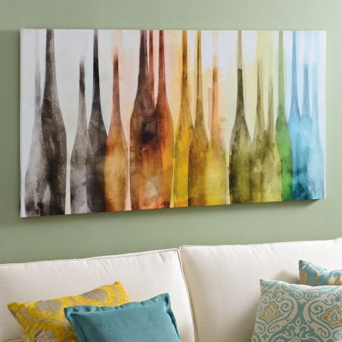 Abstract wine bottles canvas art print canvas art prints for Dining room paintings