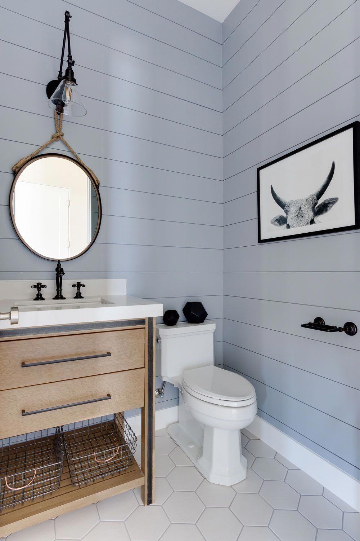 Shiplap Bathroom Beautiful Gray Blue With Wood Vanity Graybathroom Bathroom Beautiful Blue Gra In 2020 Shiplap Bathroom Bathroom Vanity Bathroom Interior Design