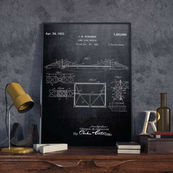 Golden Gate Bridge Patent Poster| Architect Gift| Wall Art| San ...