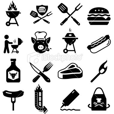 Barbecue Icons Black Series Royalty Free Stock Vector Art Illustration Barbecue Icon Set Logo Restaurant