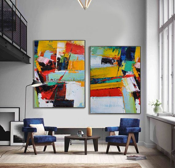 Set Of 2 Contemporary Art S101 Abstract Canvas Art