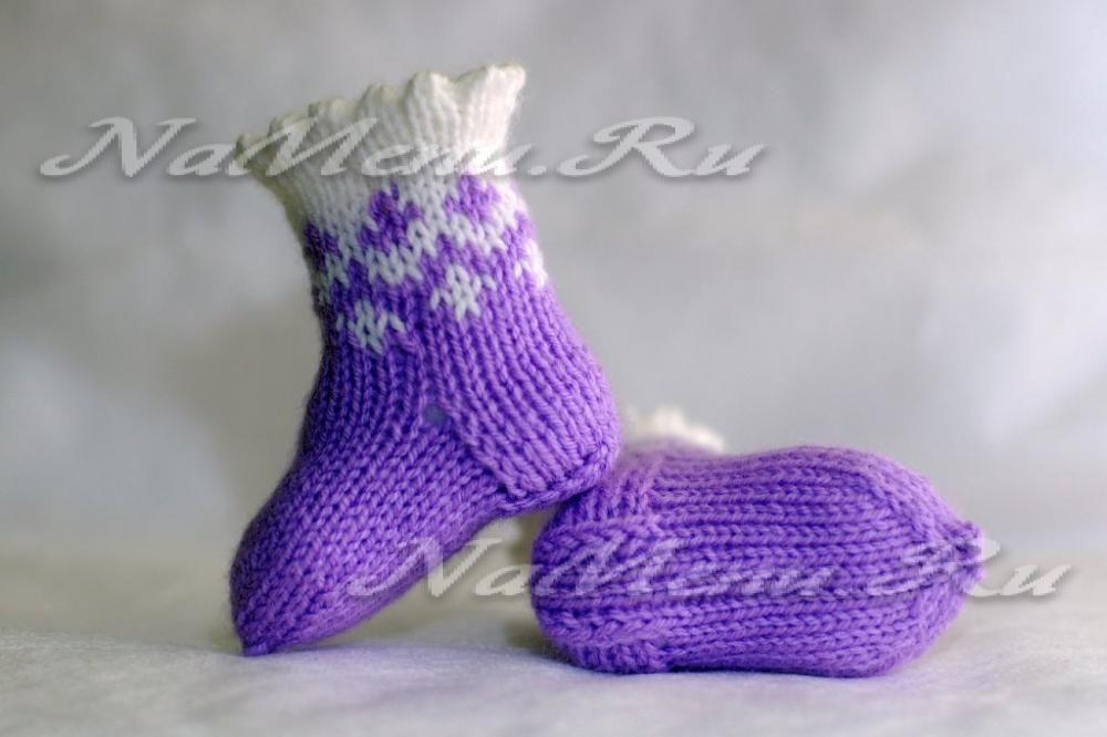 носочки спицами для новорожденной девочки на возраст от 0 до 2