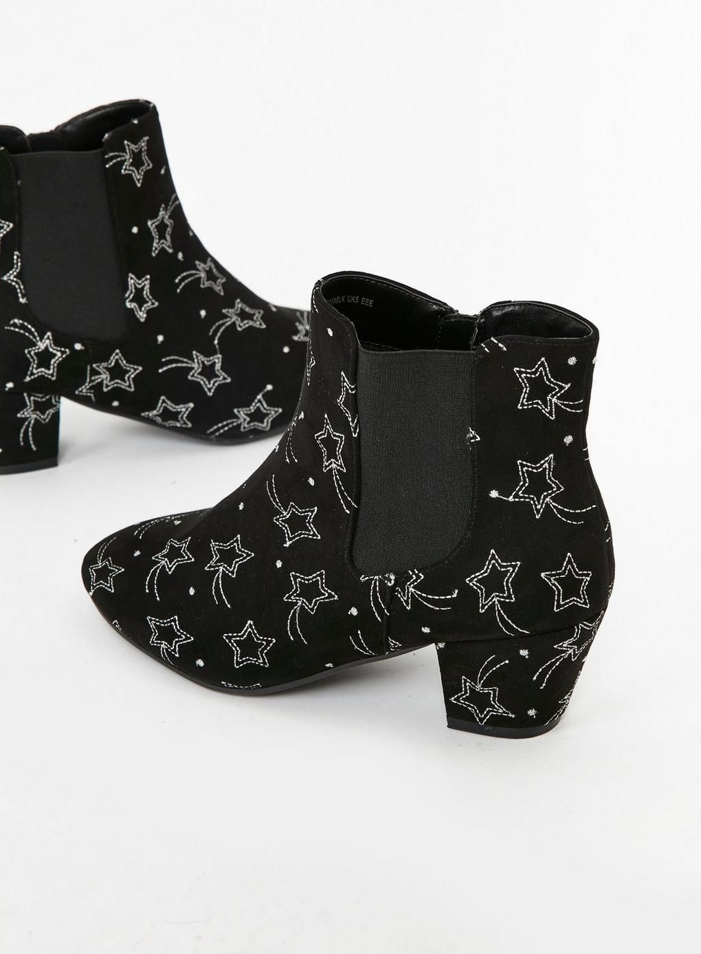 9b430f793530 Extra Wide Fit Black Star Embroidered Ankle Boots - Evans