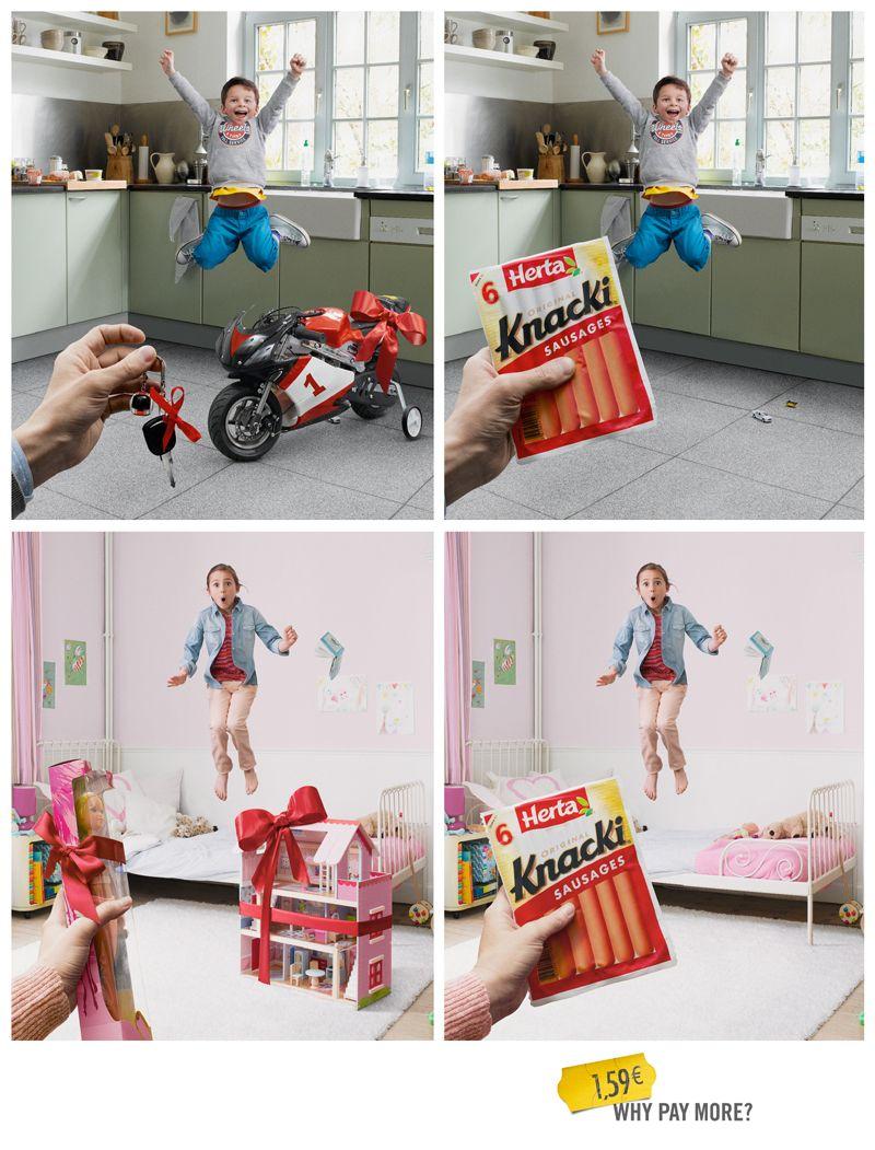"""소세지 하나면 충분한데, 왜 많은 돈을 쓰시나요?    프랑스 소세지 브랜드 """"Knacki"""" 에서 선보인 재미있는 광고입니다.  아이들이 기뻐하는 모습을 비교해서 연출한 점이 돋보이는 지면광고입니다."""