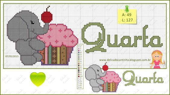 """Delicado Cantinho: Graficos """"Semaninha Animais + Cupcakes"""":"""