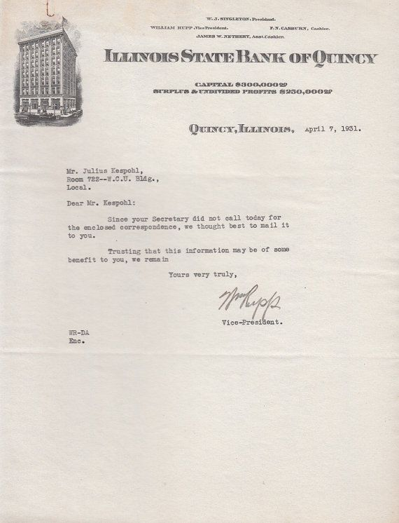 1931 Illinois State Bank Of Quincy Letterhead Julius Kespohl