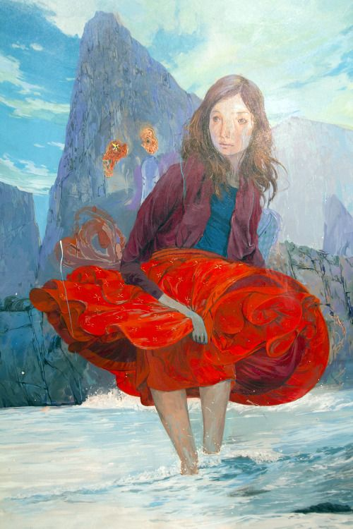 Paintings by Andrew Hem. The movement and depth in this red skirt takes me away to a magical place. www.challengenie.com