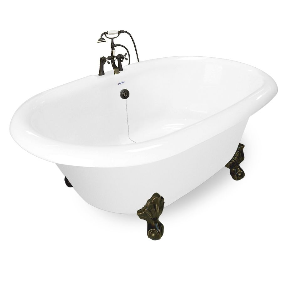 American Bath Factory Acrylic Round Clawfoot Bathtub With Reversible Drain Common 60 In X 32 In Ac American Bath Factory Whirlpool Bathtub Bathtub