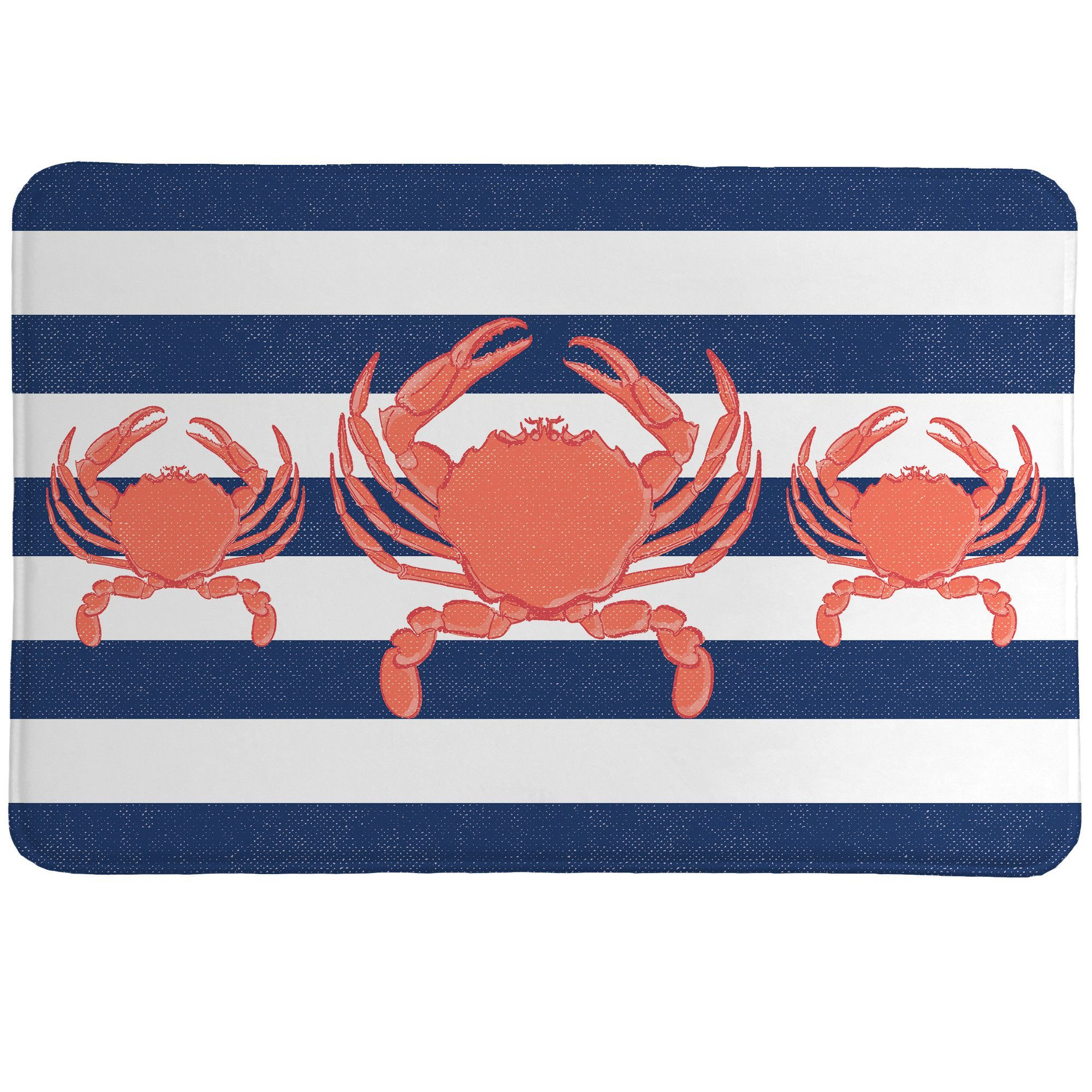 Features:  -All products are digitally printed to create crisp, vibrant colors and images.  -Indoor use only.  -Skid-resistant backing.  Shape: -Rectangle.  Theme: -Coastal.  Color: -Blue and coral. D