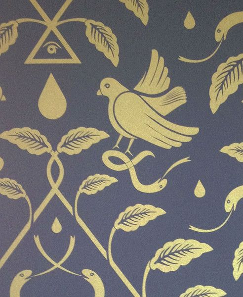 This chic designer wallpaper features serpents and birds intertwined in an organic pattern.  Material: Hand Screened