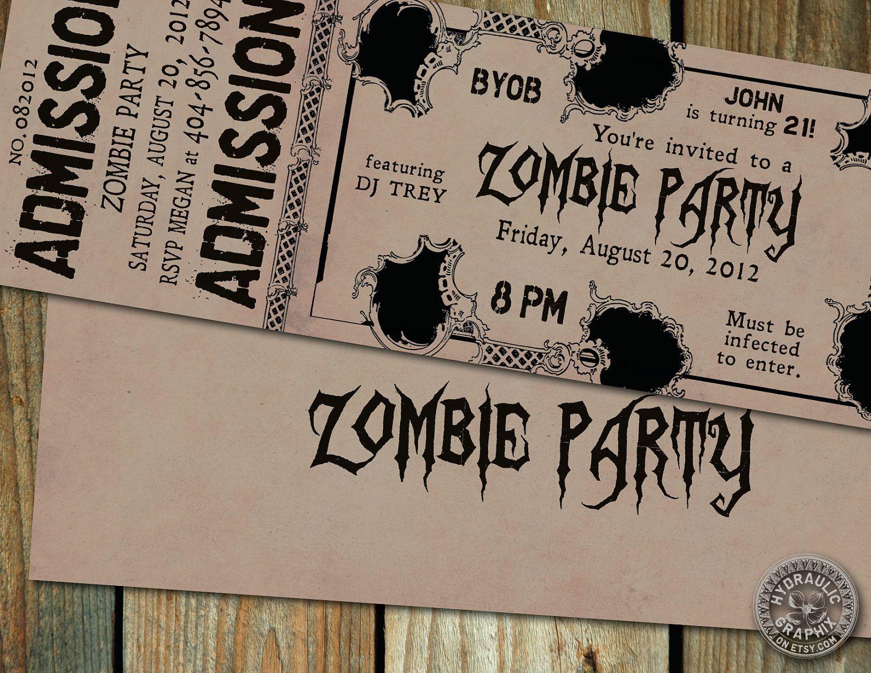 Zombie Party Invitation Printable Birthday Ticket Invitation