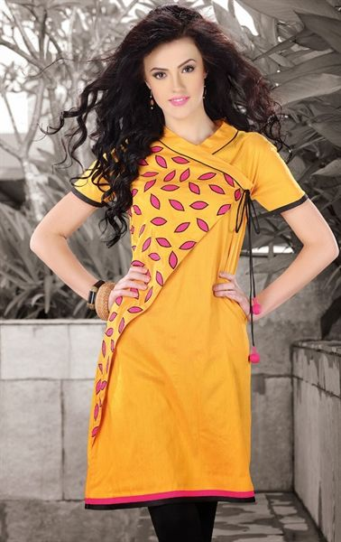 Picture of Flamboyant Yellow Color Fashionable Kurti