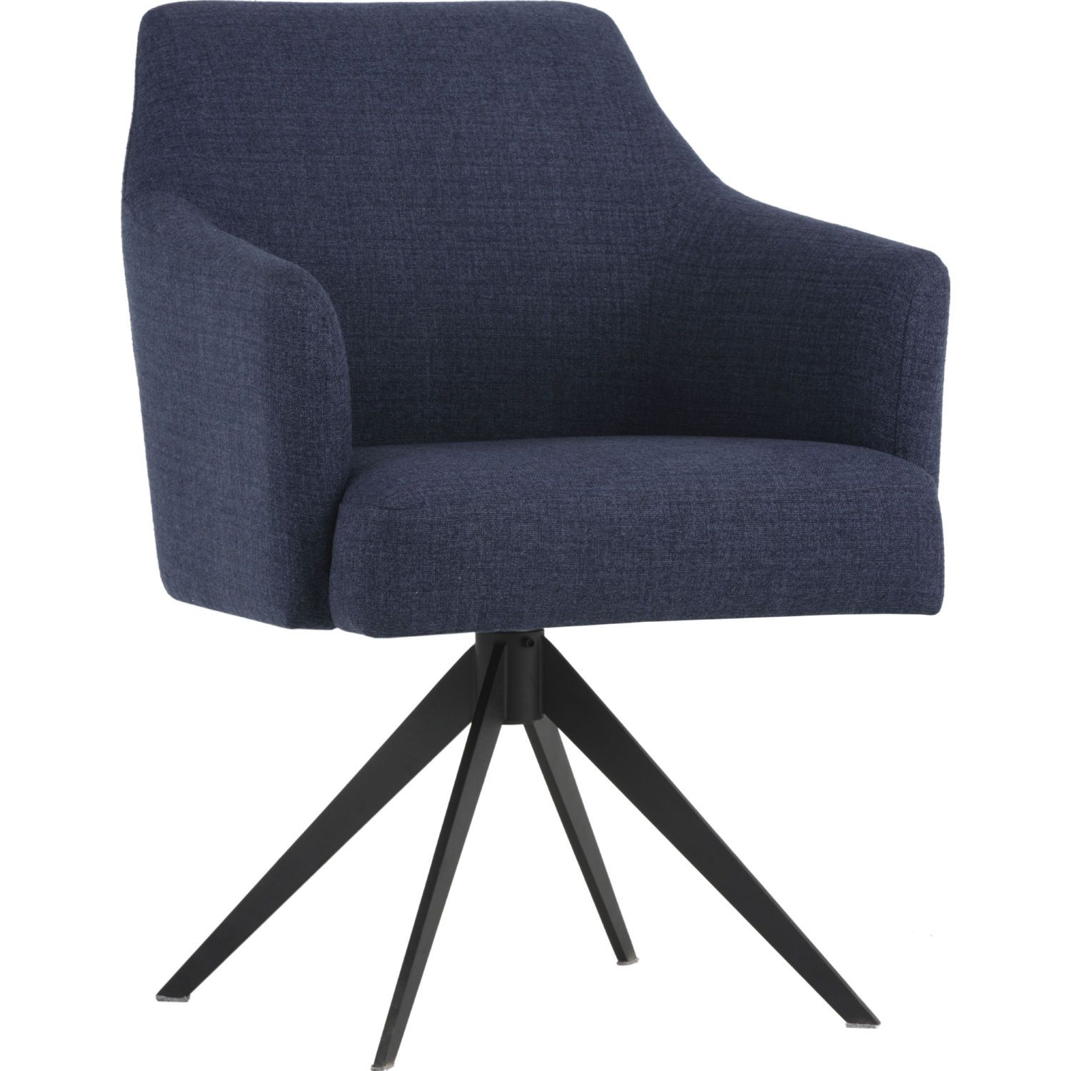 Sunpan 102826 Sydney Swivel Dining Chair Midnight Blue On Black