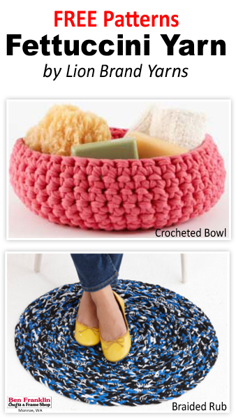 One of @lionbrandyarn newest yarns is the FETTUCCINI Yarn which is a super bulky yarn made from the remnants of garment manufacturing. It's strong enough for bags and bowls, but it's comfortable enough for jewelry and accessories.We have the FREE patterns to make this bowl and rug!  #BenFranklinCraftsMonroe   #crochet  #Yarn  #FreePattern   #Knitting