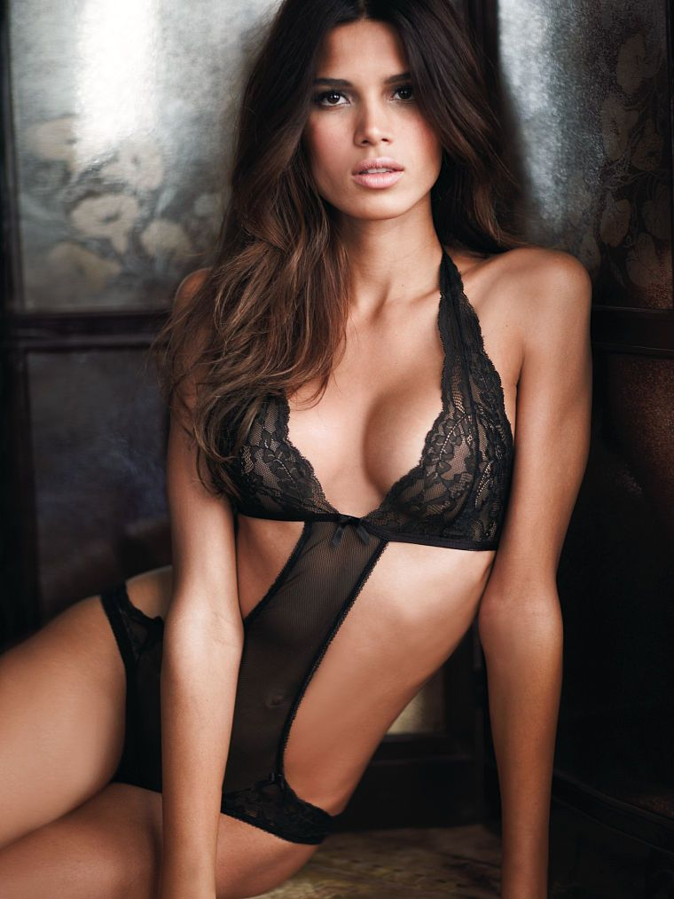d83273ef6f366 Lily Aldridge - Cut-out Black Lace Halter Teddy - Very Sexy Lingerie - Victoria s  Secret