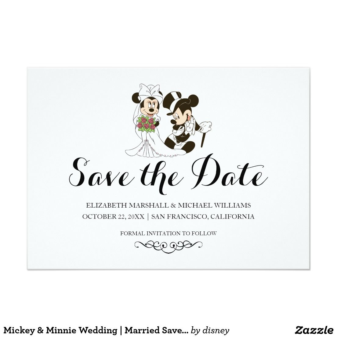 Mickey Minnie Wedding Married Save The Date Save The Date