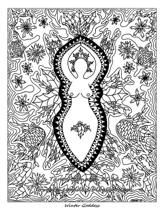 Winter Solstice Pagan Art Coloring Page Printable Coloring Page