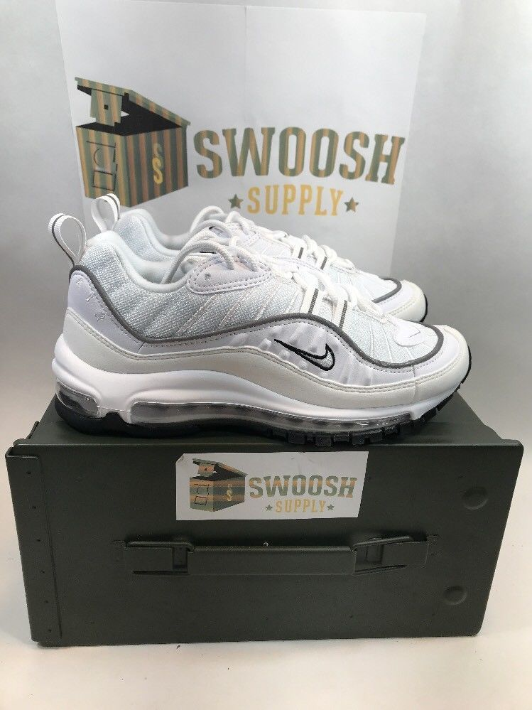 Nike Womens Air Max 98 Size 7.5 White Reflective Silver ...