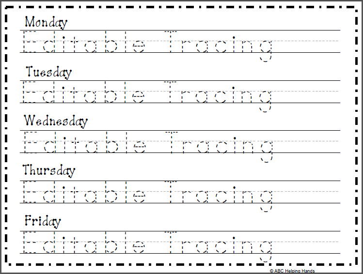 Editable Name Tracing Worksheet - 5 Day | Kindergarten ...
