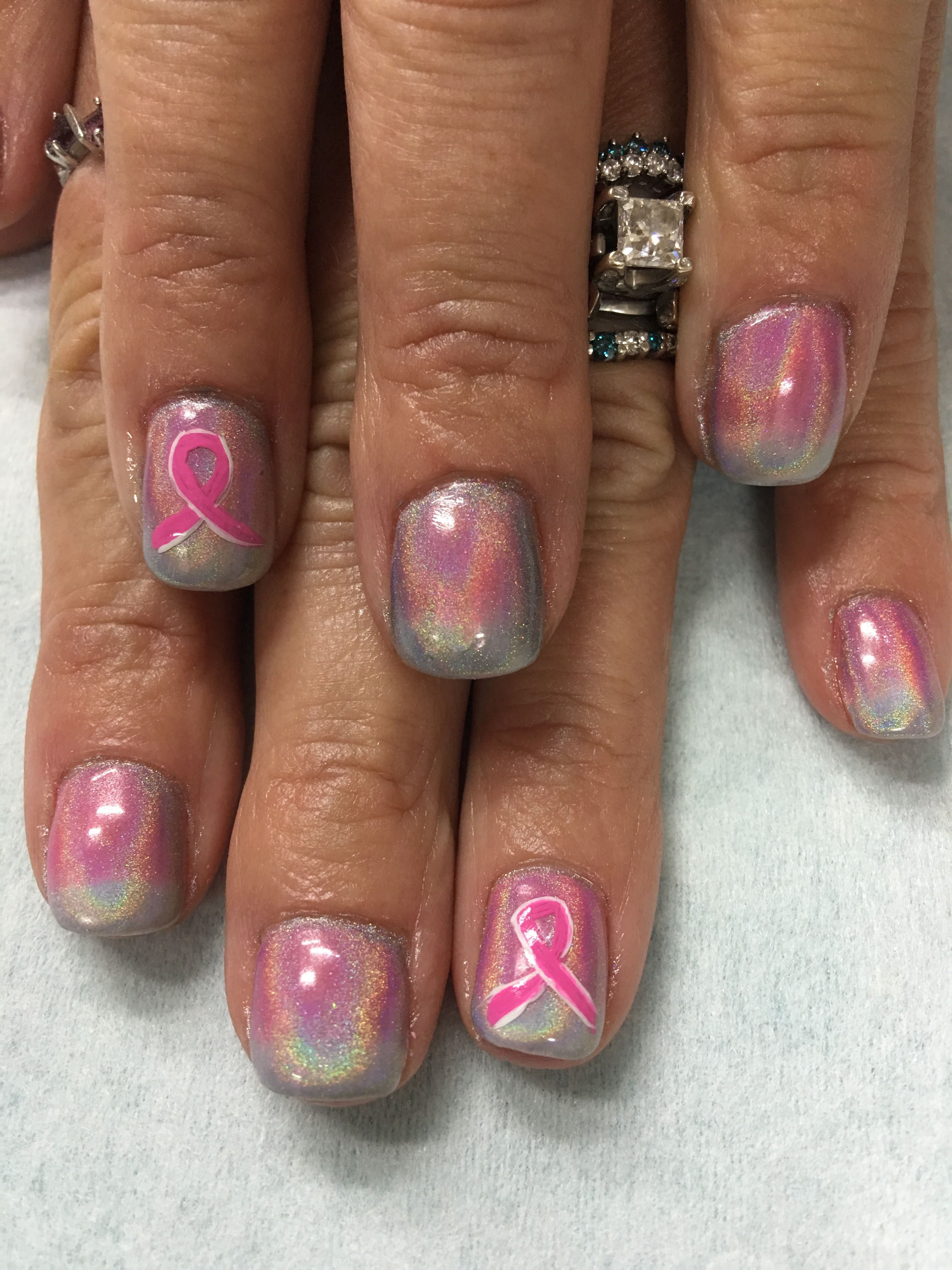 Holo Chrome unicorn nails with Pink & White ombré under and Pink ...