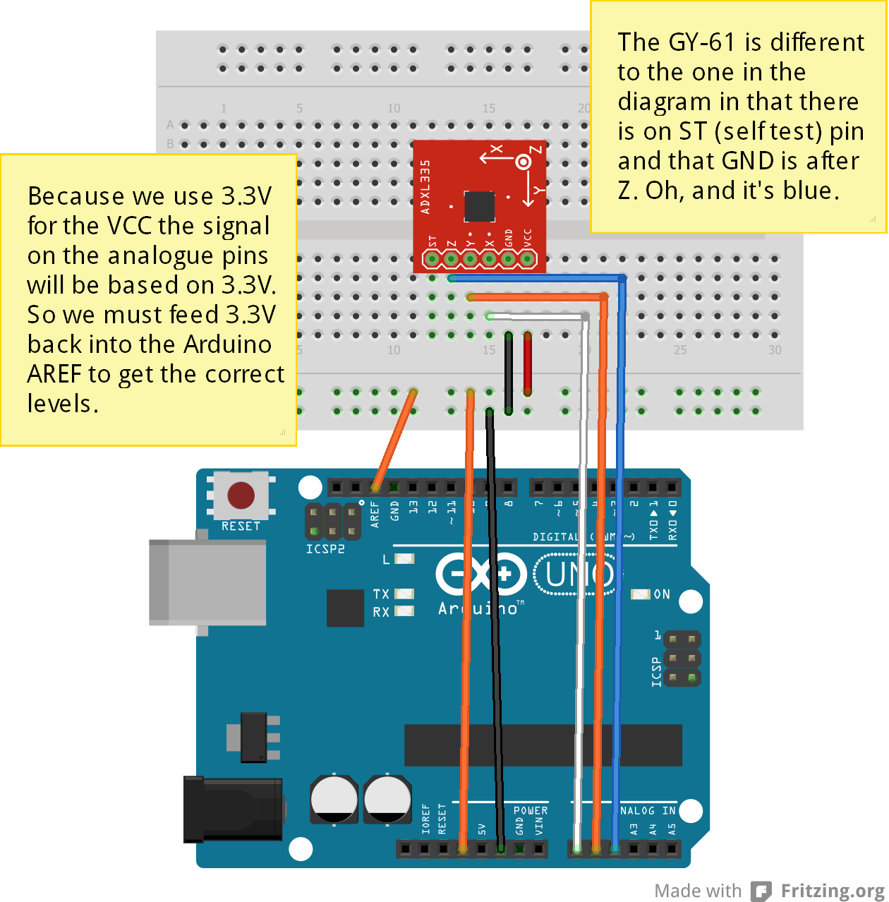 Gy 61 3 Axis Accelerometer And Arduino Open Source In 2018 Sensor Schematic Diagram