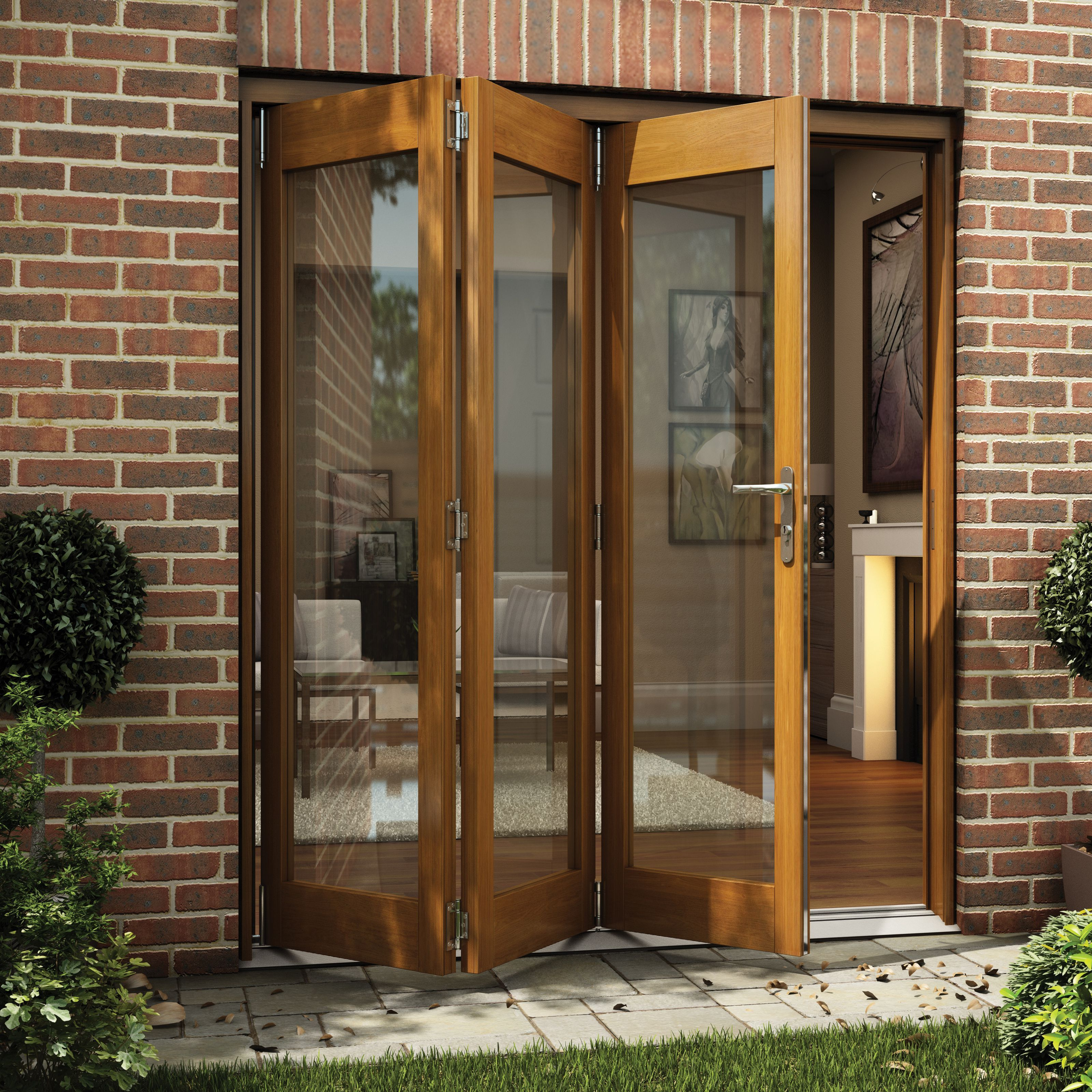 Oak Veneer Glazed Folding Sliding Patio Doors - Bu0026Q for all your home and garden supplies and advice on all the latest DIY trends & Oak Veneer Glazed Folding Sliding Patio Doors (H)2105mm (W)1805mm ...
