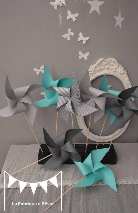 10 Moulins à vent turquoise et gris - décoration chambre bébé fille ...