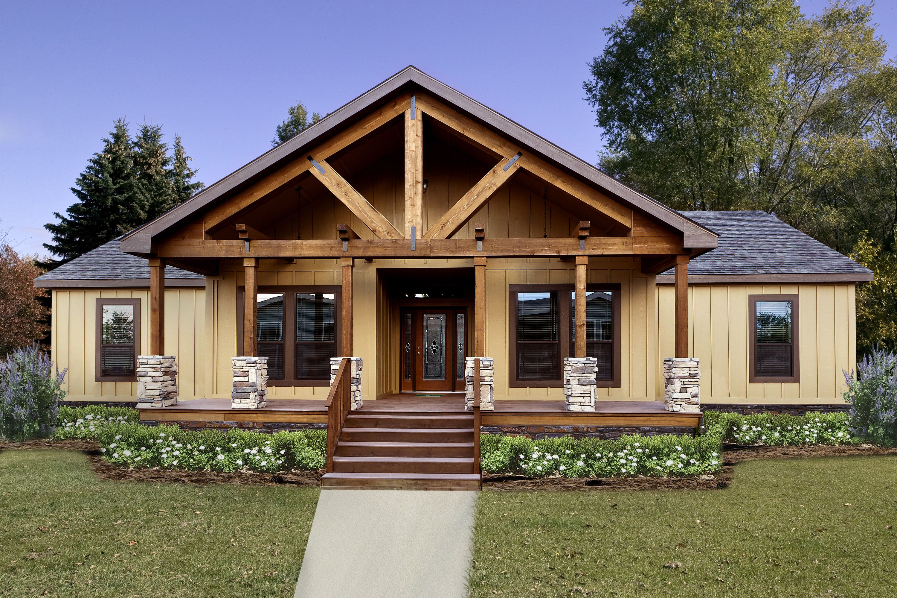 Prefabricated Porches modular home front porches | new plan with large timber truss