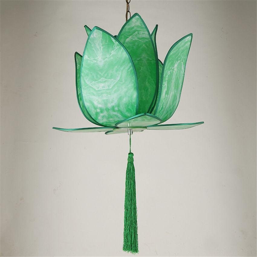 Pas cher Classique vert Led Pendentif Lampe Chine Métal + Tissu