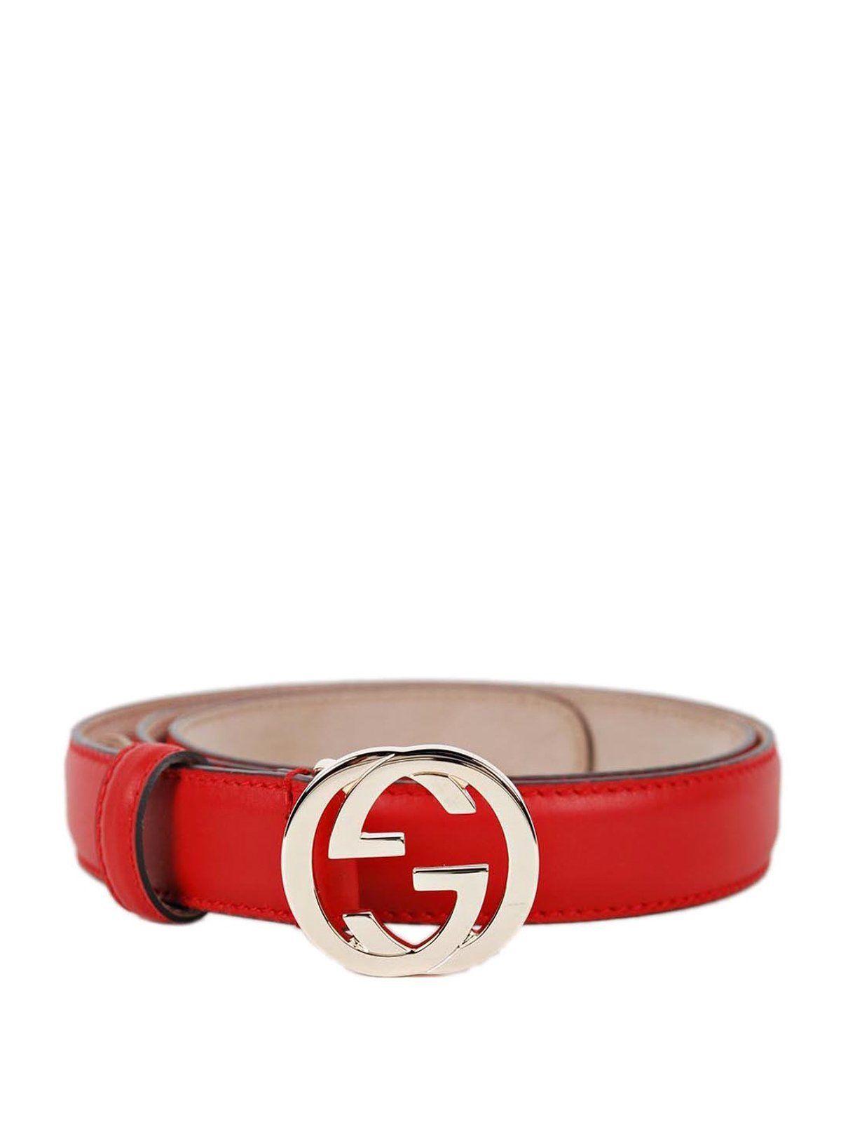 b5ba6253393b2 Gucci Red Leather Belt with Interlocking G Buckle 370717