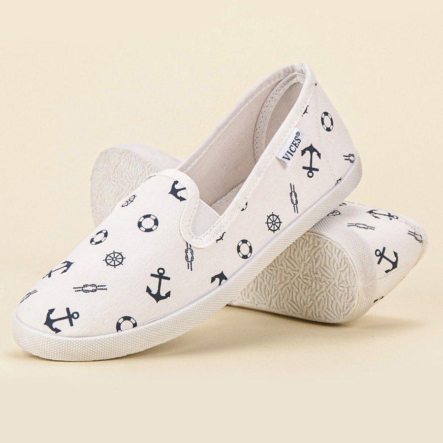 Marynarskie Slipony Vices Biale Trainers Women Slippers Beach Shoes