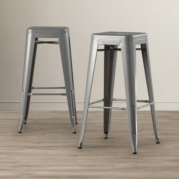 Belleze Set Of 4 Modern Industrial Bar Stools 30 Seat Height Silver Bar Stools Industrial Bar Stools Patio Bar Set