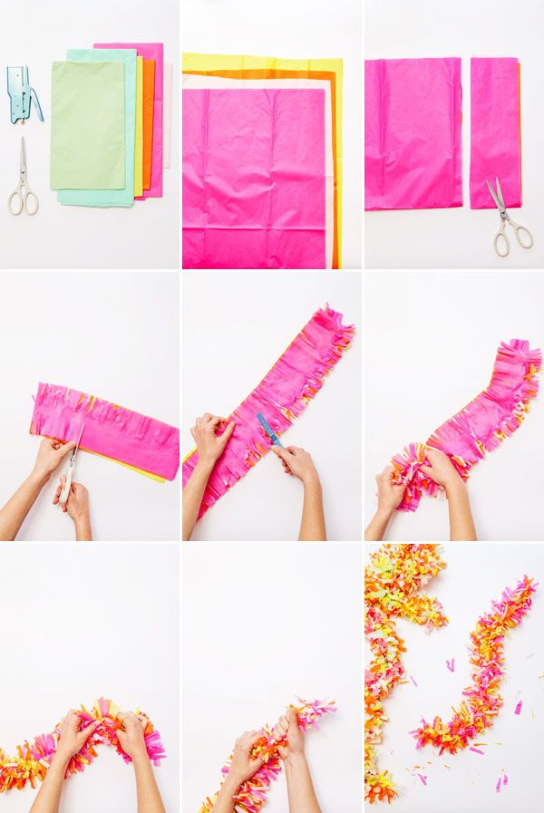 Easy DIY Part Decor Ideas For Garland Made Of Tissue Paper