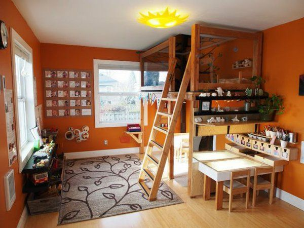 Hochbett design  kinderzimmer hochbett design holz teppe orange wandgestaltung ...