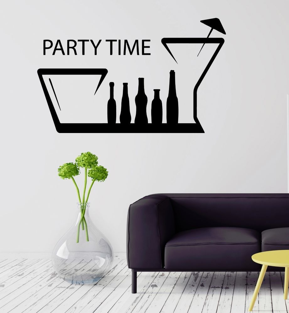 party time bar kitchen decor alcohol drink wall sticker vinyl party time bar kitchen decor alcohol drink wall sticker vinyl decal ig2090