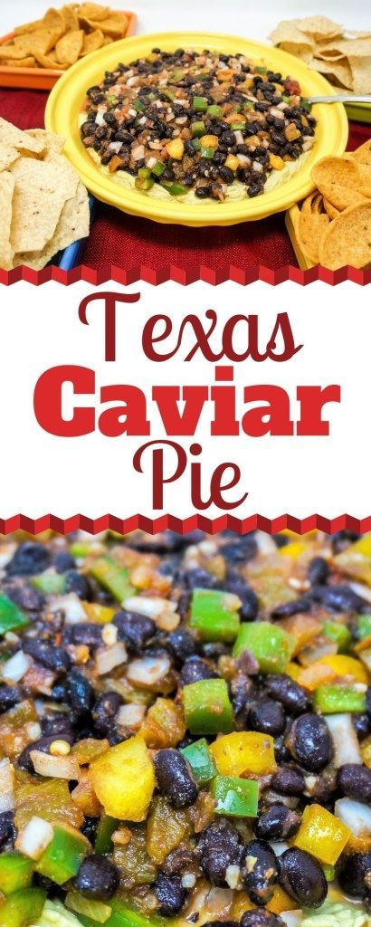 Texas Caviar Pie Texas Caviar Pie is a wonderful dip for your next get-together. It combines a super flavorful black bean salsa over a creamy avocado cream cheese mixture. You will not want to miss this unique recipe! |Texas Caviar Dip | Texas Bean Dip | Texas Black Bean Dip | Bean Dip Ideas | Unique Bean Caviar Recipes | Texas Caviar Dip with Avocado | Texas Caviar Dip with Cream Cheese |