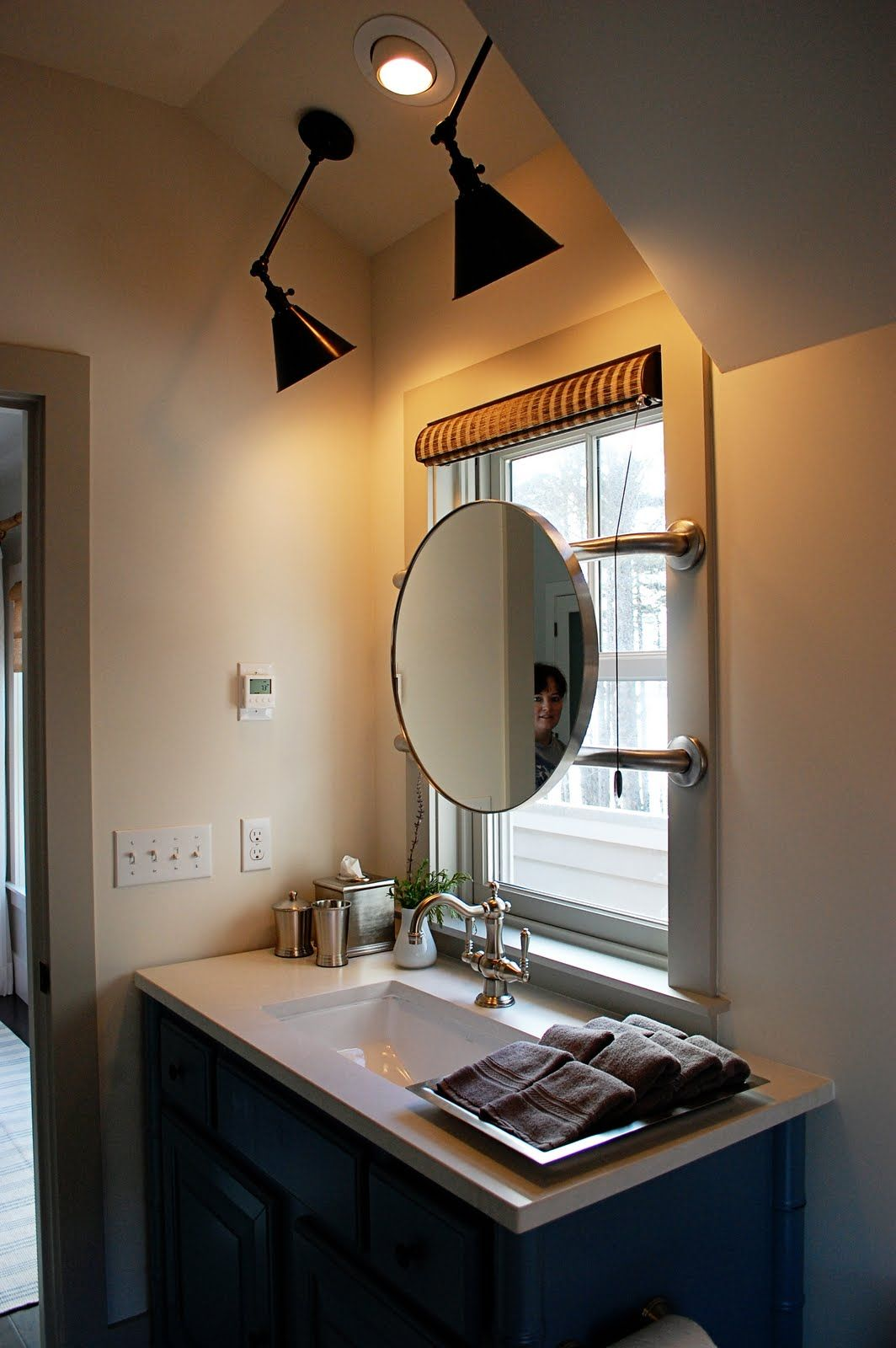 Mirror In Front Of Window Might Have To Do This In The Girls Bath Small Bathroom Decor Small Bathroom Sinks Bathroom Mirror