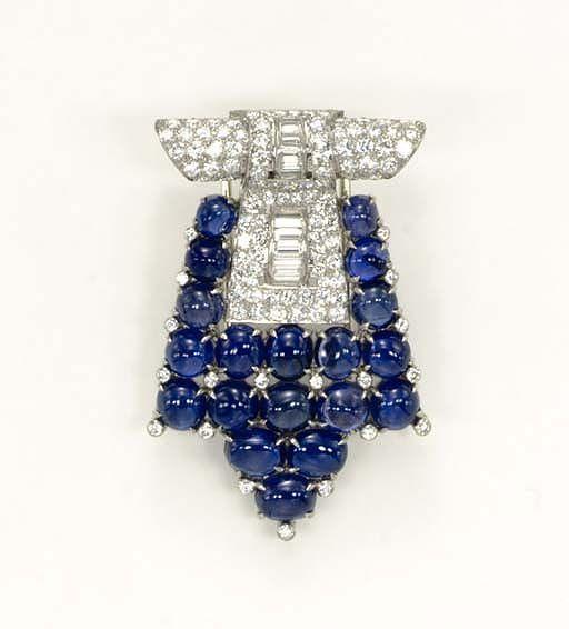 An Art Deco Sapphire And Diamond Brooch Designed As A