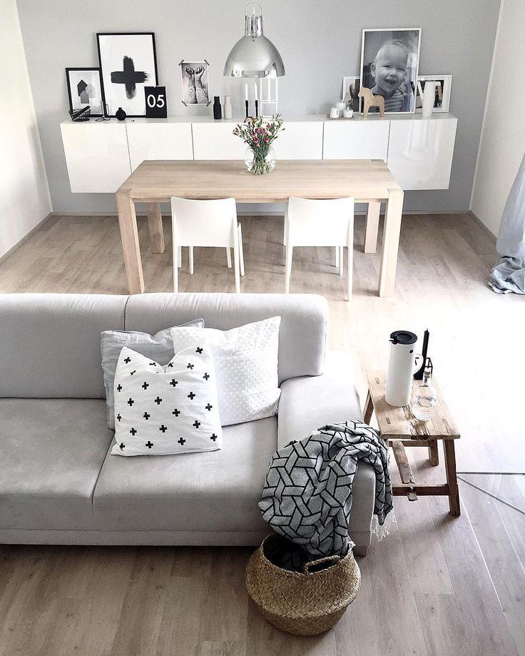 Dining Room Living Room Combo: White & Gray