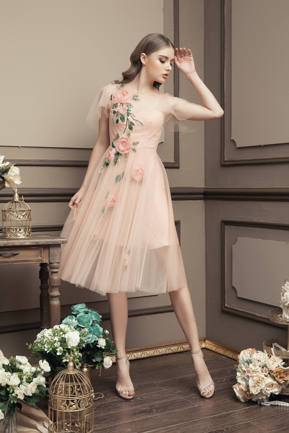 Customized Feminine Lace Party Dresses New Arrival Colorized Embroidery Lace Half Sleeves Knee Length Homecoming Dresses Prom Dress – Dresses
