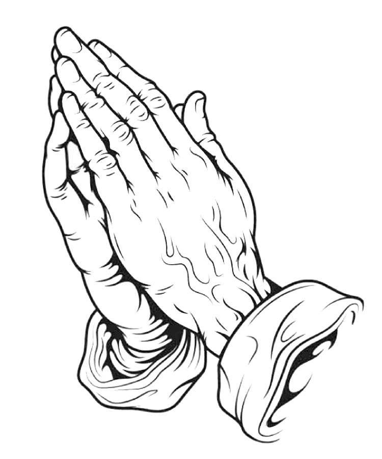 drawings of crosses with praying hands | praying hands | drawing